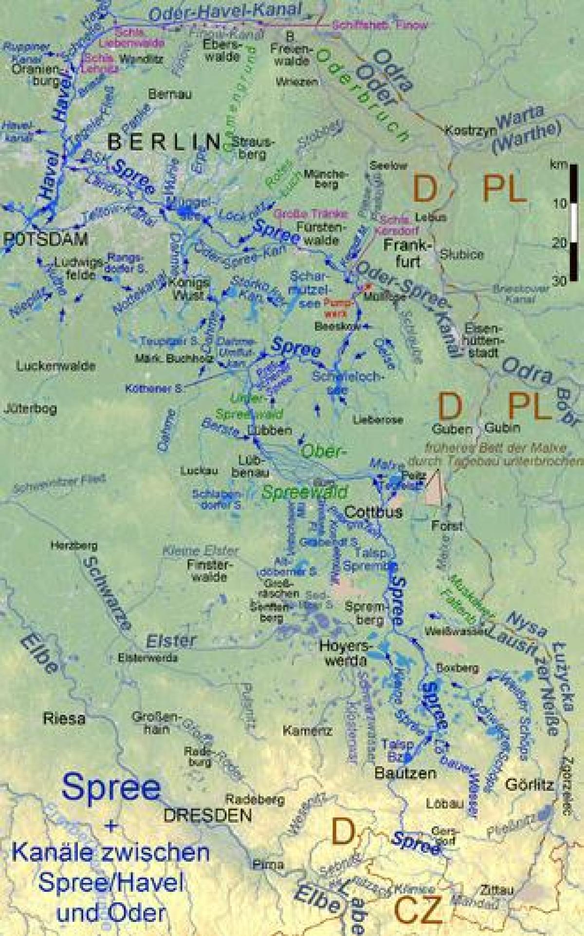 Germania Cartina Fiumi.Berlino Fiumi Mappa Cartina Di Berlino Fiumi Germania